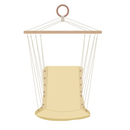 Hammock for sitting, comfortable seat for indoor or outdoor relax in vector design. Stylish decor isolated on white background. 向量圖像