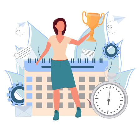 Happy woman standing, holding golden cup near stopwatch stock vector illustration. Time management, personal productivity, successful woman concept in glat design isolated composition 일러스트