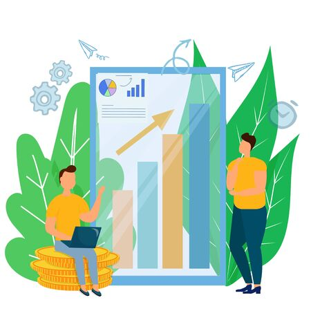 Man with laptop sitting on coins and making consultation for man standing near diagram with arrow un stock vector illustration in flat style. Growth strategy concept graphic composition Illustration