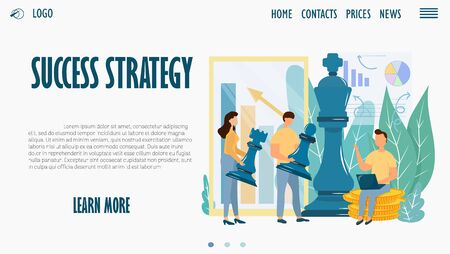 Web site design template, landing page, Success strategy. Stock vector illustration with characters, chess figures, coins, diagrams. Growth, business, finance, tactical concept. Bright, modern.
