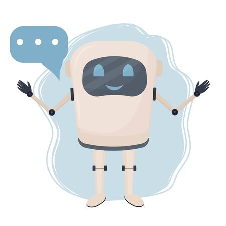 Positive character chat bot, robot standing isolated on white background stock vector illustration. Communication assistant, intelligence machine with bubble.  Ilustração
