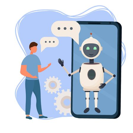 Customer having Dialog with Chat Bot on Smartphone. Man Character Chatting with Robot. Artificial Intelligence and AI Chatbot in Marketing Concept. Flat stock Vector Illustration.