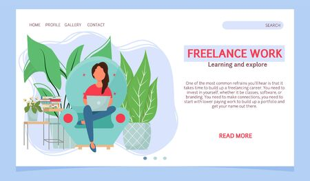 Work at home, freelance stock vector illustration landing page, web template. Woman sitting in armchair and working on laptop. Comfortable conditions for job.