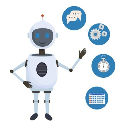 Chat bot, robot standing and showing helping icons stock vector illustration isolated on white background. Ai, technology, assistance concept in flat design.