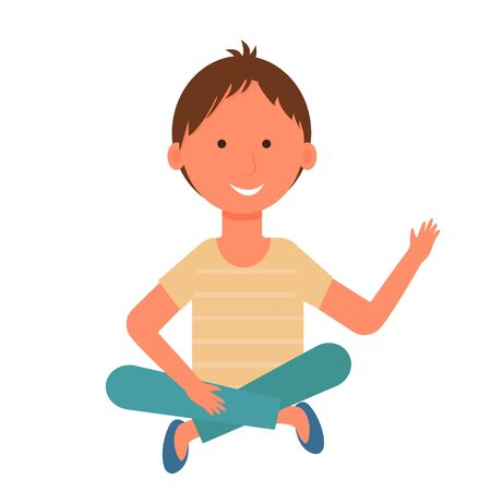 Child, kid, boy character isolated on white background sitting on floor stock vector illustration. Happy smiling little person, graphic clipart in flat style, bright colours.