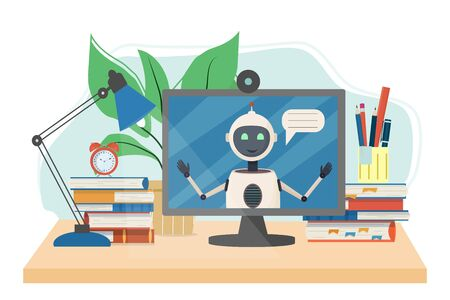 Work place for online courses, e-learning, education with books, alarm, monitor with robot isolated on white background stock vector illustration. Studying concept in flat style.