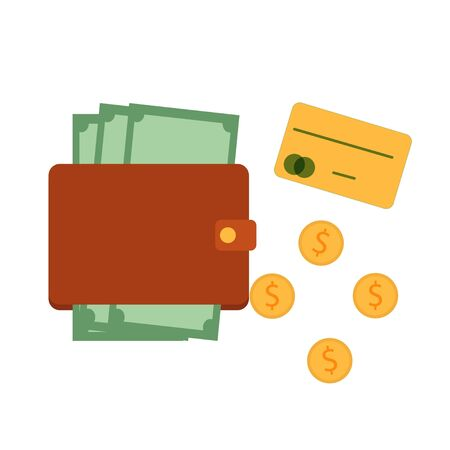 Purse, wallet with banknotes, near coins and credit card isolated on white background stock vector illustration. Simple flat style. Graphic banking, economy concept.