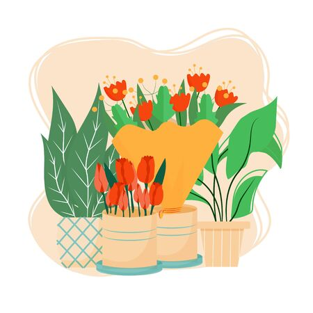 Composition with flowers in pots and bouquets stock vector illustration isolated on white background. Graphic elements, objects, florist service, flower shop concept.