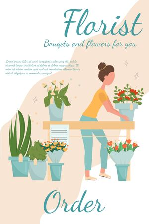 Florist service, flower shop concept, web banner, template stock vector illustration. Woman florists with bouquet. Bright harmonic colours, modern composition in flat style