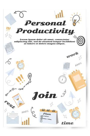 Web banner, advertisement with graphic doodle objects, text personal productivity, letters, messages, clock, planing, organisation elements, arrows stock vector illustration.