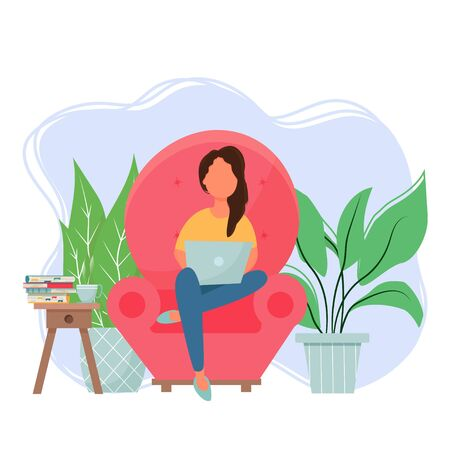 Woman sitting in armchair and using laptop stock vector illustration. Freelance, online application concept. Bright and stylish digital cozy composition, interior in flat.