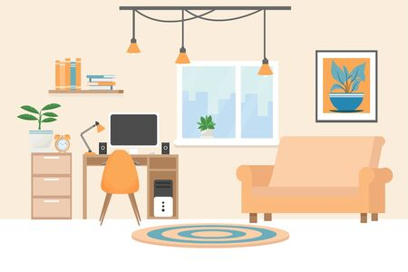Modern interior in bright colours with workplace, computer, lamp, cozy sofa, chair, bookshelf, books stock vector illustration. Elegant room for your design. 向量圖像