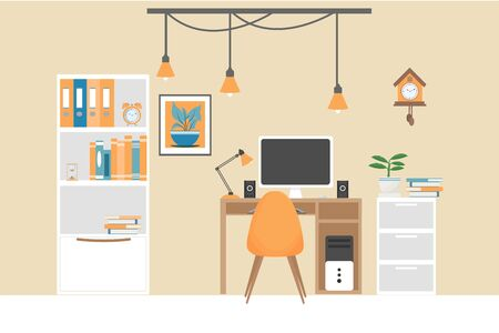 Modern interior of home office,o workplace with desk, computer, loft decor, plant, clock, books, bookshelf stock vector illustration. Empty with lot of different objects.