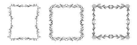 Set of doodle stylish hand drawn frames in vector design. Cute, simple sketch for different needs. Isolated on white background. Frame is from four corners. 일러스트