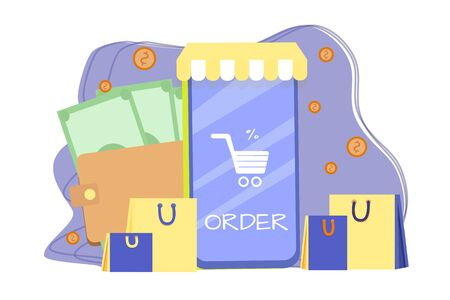 E-commerce, online shopping composition in bright colours isolated stock vector illustration. Mobile phone, packages, money, coins. Flat style. Customer service.