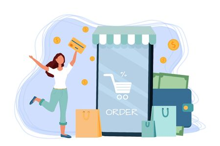 Happy woman with credit card using phone for online shopping stock vector illustration. Composition with money, coins and packages. Positive bright for advertising, banner.