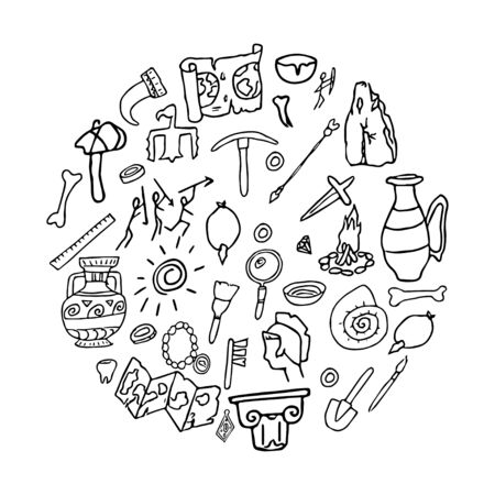 Doodle ancient objects, archeology, history hand drawn stock vector illustration isolated in round shape on white background. Education, tribal composition.
