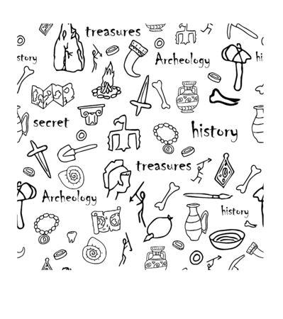 Archéologie de Doodle, modèle sans couture d'histoire dans l'illustration de vecteur stock de couleurs noir et blanc. Éducation, explorer, idée de recherche. Éléments dessinés à la main grunge. Vecteurs