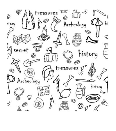 Doodle archeology, history seamless pattern in black and white colours stock vector illustration. Education, explore, research idea. Grunge hand drawn elements. Vector Illustration