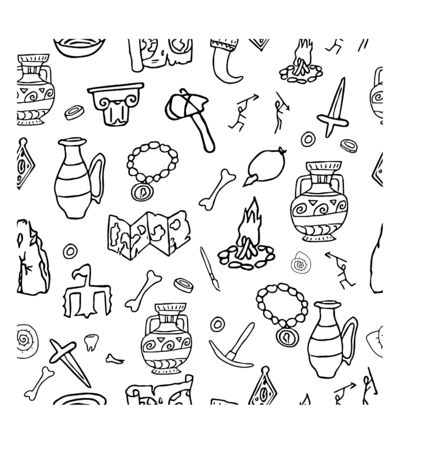 Doodle archeology, history seamless pattern in black and white colours stock vector illustration. Education, explore, research idea. Grunge hand drawn elements. 일러스트