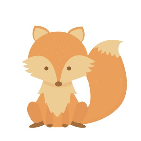Cute little fox character sitting isolated on white background stock vector illustration in Scandinavian style. Fashion adorable clipart, digital orange mammal. . Vector illustration Фото со стока - 148092526