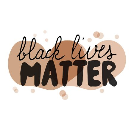 Black lives matter hand drawn lettering isolated on white background stock vector illustration. Graphic humanity poster. Vector illustration