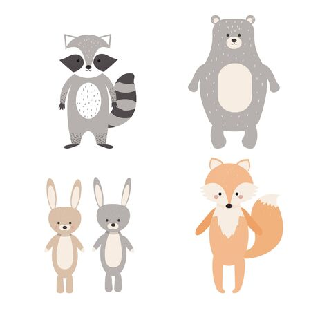 Character, animal clipart isolated on white background, fox, rabbits, raccoon, Bear in Scandinavian style. Cute forest childish print stock vector illustration. Vector illustration