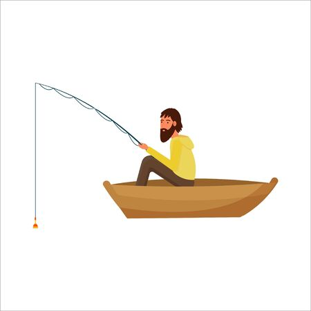 Fisherman sitting in boat with equipment isolated on white background stock vector illustration in flat style. Vector illustration