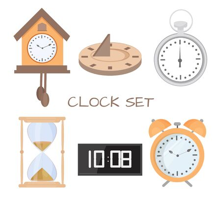 Set of solar clock, alarm clock, hourglass isolated on white background. Six graphic objects stock vector illustration. Digital creative equipment for measure time. Stock Illustratie