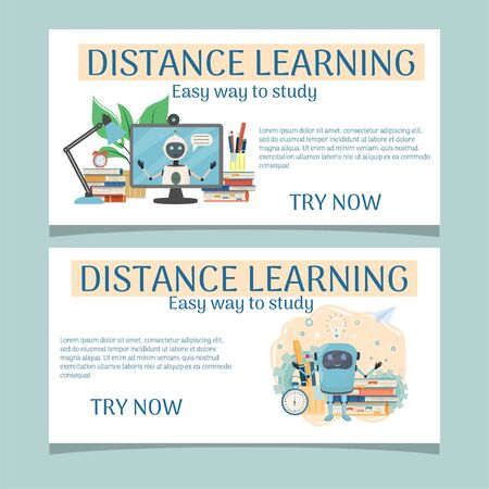 Distance learning banner, web template stock vector illustration. Composition with books, stopwatch and robot assistant. E-learning, online tutor for easy study.