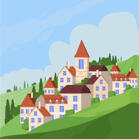Panoramic Vector illustration of rural countryside with European houses on hills stock vector illustration. Positive green scene, panoramic views. Иллюстрация
