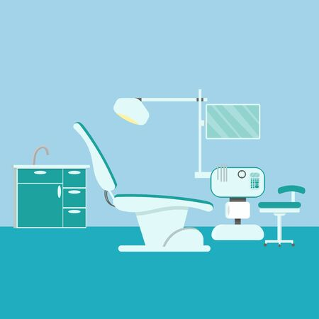 professional dentist workplace chair and tools dental room cabinet tooth care concept modern clinic office interior stock vector illustration. Vector illustration