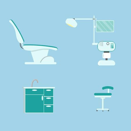 Dentist chair, medical equipment, stomatology workplace isolated objects stock vector illustration. Healthcare, professional examination concept, design elements.