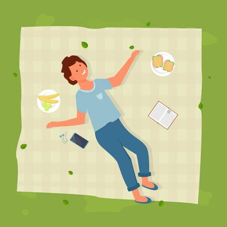 Young man lying on blanket near sandwich, fruit and book, outdoor activity, picnic time stock vector illustration. Top view of happy character. Vector illustration Иллюстрация