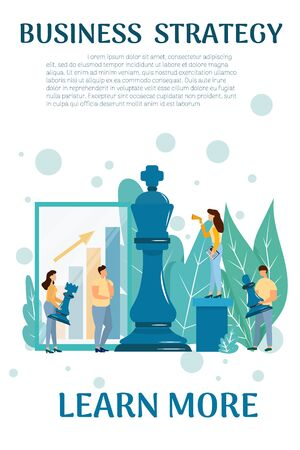 Web banner template of business strategy concept with small characters people, chess figures stock vector illustration. Graphic composition for site, leadership, corporate metaphor. Vector illustration