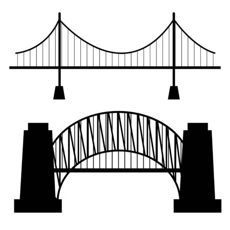 Vector bridges silhouettes icons. Black silhouettes of beautiful bridges on a white background for logos, badges or internet icons. Vector illustration