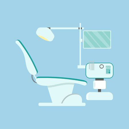 Dentist workplace, stomatology equipment, chair isolated stock vector illustration. Medical furniture for healthcare, oral examination or checkup. Vector illustration