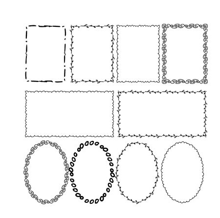 Set if hand drawn doodle frames in different shapes, graphic simple border design isolated on white background stock vector illustration. Vector illustration