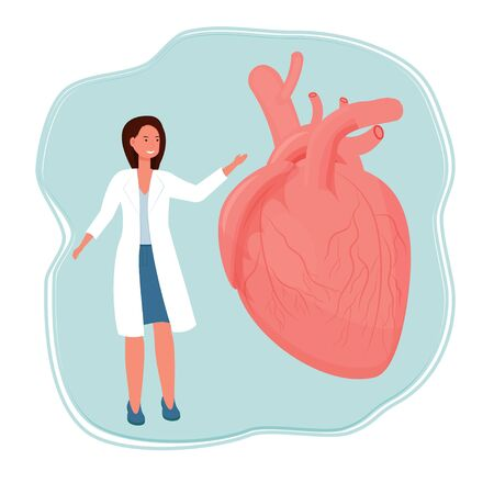 Doctor woman standing and smiling near human heart organ stock vector illustration isolated on white background. Healthcare, medical examination concept. Vector illustration