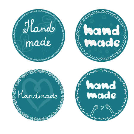 Set of Badge, tag letters Hand made hand drawn in round shape with decorations isolated on white background. Emblem for home business, products. Collection of design elements. Vector illustration