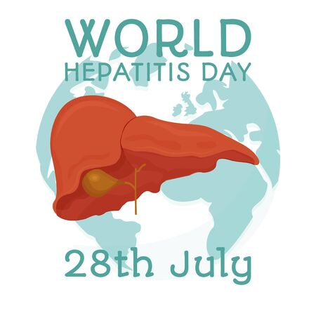 World hepatitis day background template stock vector illustration. with minimalist and modern concept, cover, international. Healthcare, medical examination concept. Vector illustration Иллюстрация