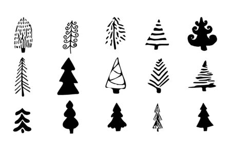 Set, collection doodle Christmas trees isolated on white background. Silhouette, scribble hand drawn objects in different design stock vector illustration. Vector illustration