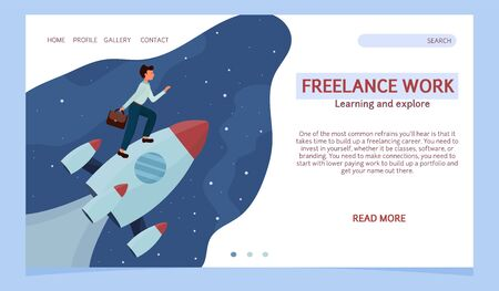 Landing page, web template, layout man standing on rocket and flying up. Development, start up, success concept in flat style stock vector illustration. Vector illustration Иллюстрация