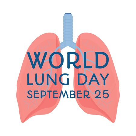 World lung day, international support, awareness. Card, greeting cards, poster or banner stock vector illustration. Lungs with planet Earth in blue colours. Vector illustration
