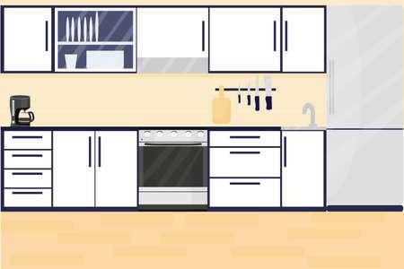 Kitchen interior with furniture and stove, cupboard, fridge and utensils. Flat cartoon style stock vector illustration. Plan of design, indoor design, clean and empty room. Vector illustration Ilustración de vector