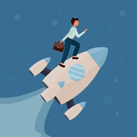 Man standing on rocket and flying up with stars, cosmos. Development, start up, success concept in flat style stock vector illustration. Vector illustration