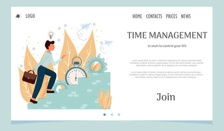 Landing page, web template, layout with man going upstairs, time management, personal productivity, development concept in flat style stock vector illustration. Vector illustration