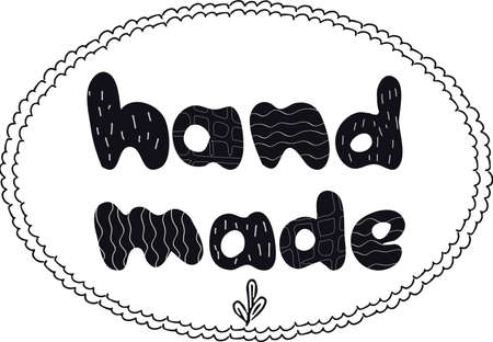 Hand drawn lettering handmade,  emblem for shop, tags isolated on white background editable stock vector illustration. Doodle element, stamp. Vector illustration