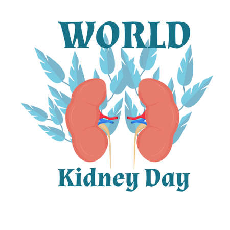 World kidney day celebration design, decorated with leaves stock vector illustration. Human organ international holiday, help, medical support. Bright and creative poster, flyer, banner. Vector illustration