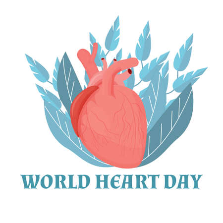 World Heart Day on white Background, September holiday stock vector illustration. Organ with letters, text greeting card. Medical, healthcare, aids concept. Vector illustration
